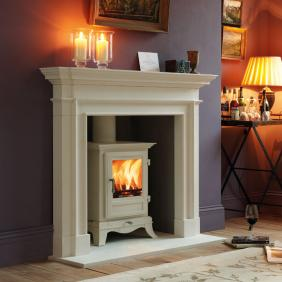 The Beaumont 6KW Stove - shown in cream - on display in showroom
